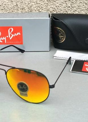 Ray ban aviator 58 очки капли солнцезащитные унисекс оранжевые зеркальные стекло1 фото