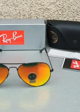 Ray ban aviator 58 очки капли солнцезащитные унисекс оранжевые зеркальные стекло2 фото