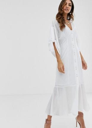 Asos design біла міді-сукня хвилястий низ