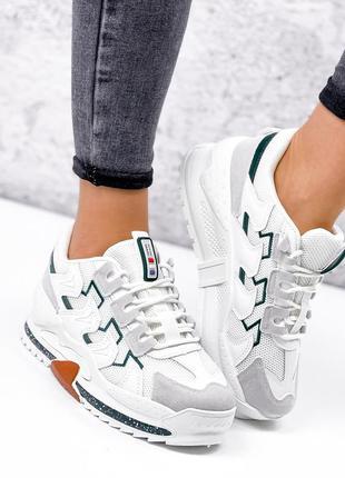 Кроссовки женские белые + серый + зеленый эко-кожа + эко-замша + текстиль 36-41р