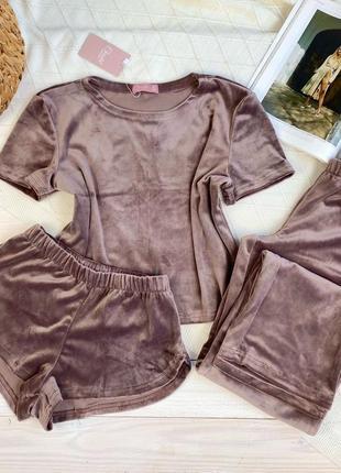 Домашний костюм, плюшевая пижама футболка + шорты + штаны, велюровый халат