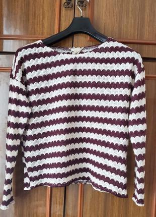 Легкий вязаный свитер джемпер лонгслив оверсайз в полоску new look