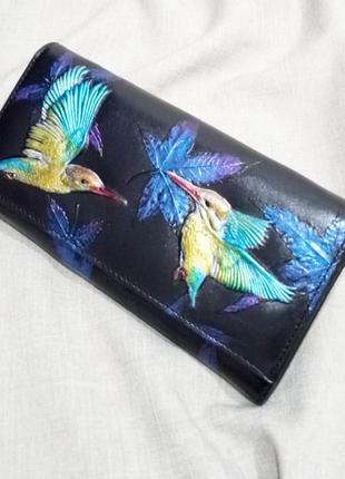 Большой кожаный кошелек райские птички, 100% натуральная кожа, есть доставка бесплатно