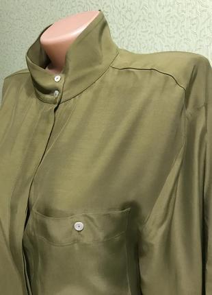 Удлиненная рубашка блузка хаки свободногоикроя