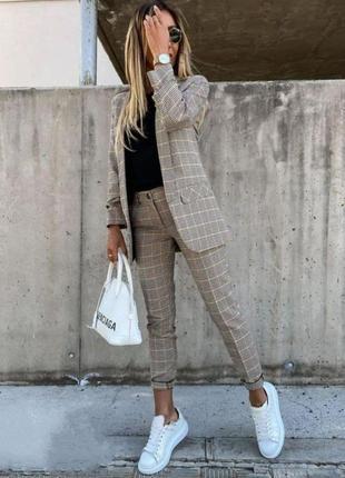Костюм брючный пиджак+брюки в клетку