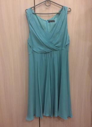 Вечернее шелковое платье бирюзового цвета