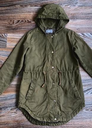 Хаки хлопковая демисезонная куртка курточка парка с капюшоном от south