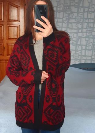 Sale удлиненный вязаный кардиган из акрила в этно стиле damart кофта кардіган