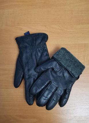 Кожаные перчатки, утепленные