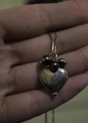 Серебро 925 кулон с натуральным жемчугом объемное сердечко