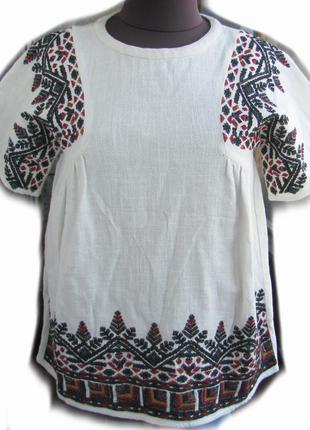 Льняная блуза  zara с вышивкой