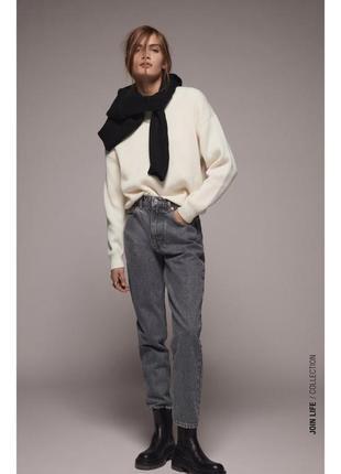 Чёрные джинсы мам фит с высокой талией zara🖤