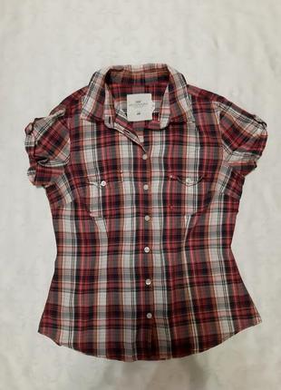Женская рубашка блузка в клетку жіноча