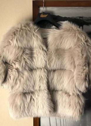 Шубка кардиган yves salomon оригинал бежевая s 38 арктическая лиса
