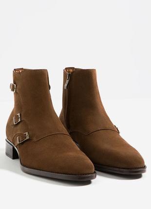 Высокие туфли ботинки zara basic 40 розмер натуральный замш