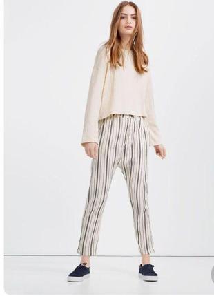 Трендовые коттоновые штаны в полоску с мотнёй  zara распродажа остатков!