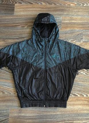 Черная и зелено-бирюзовая плащевая куртка курточка плащевка ветровка с капюшоном o'neill