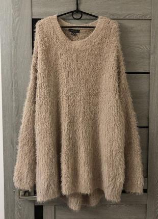 Тёплый длинный свитер большого размера батал туника травка кофта