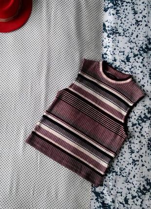 Sale тканевая жилетка водолазка без рукавов в рубчик в полоску new look