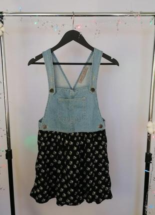 Джинсовый сарафан платье с ромашками