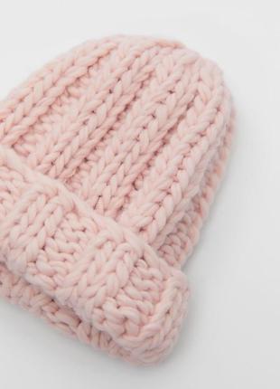 Шапка вязана zara рожева стильна
