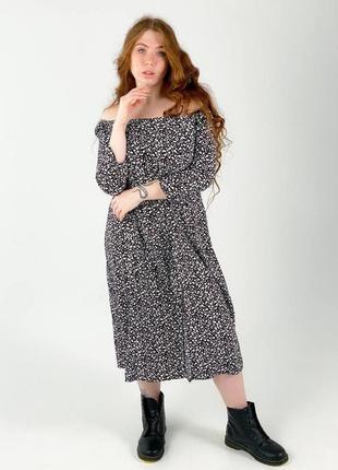 Батал платье шелк длинное ниже колена лёгкое с разрезом квадратное декольте черное
