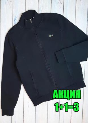 💥1+1=3 брендовая женская черная кофта худи на тонком флисе lacoste, размер 46 - 48