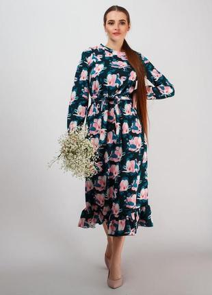Весеннее платье цветочный принт