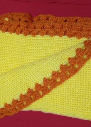Одеялко вязанное желто-оранжевое hand made 74х93