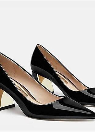 Кожаные туфли лодочки балетки на блочном каблуке от зара zara коллекция 2020