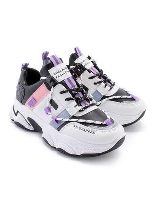 Крутые кроссовки белые с фиолетовым