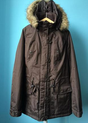 Куртка демисезонная с капюшоном, парка, аляска на девушку, размер s-m