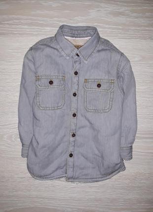 Тёплая джинсовая рубашка- шерпа next на 1,5-2,0 года