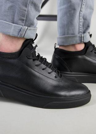 Кросівки чоловічі шкіряні чорного кольору