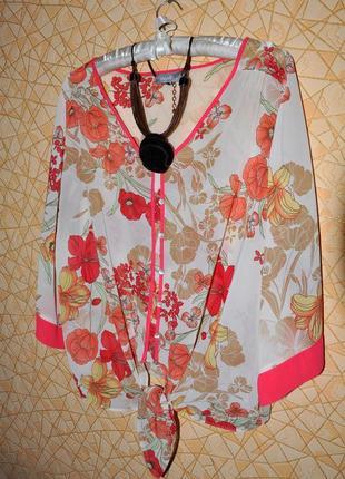 👚яркая блуза в цветочный принт маки тм 'wallis' р-р xl, 48 eur, 54 rus