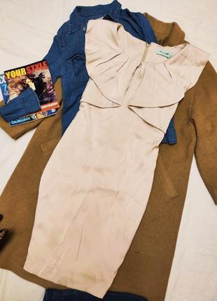 Платье бежевое с воланом классическое миди новое almost famous