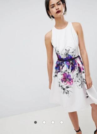 Платье бежевое с цветочным принтом миди little mistress