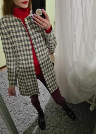 Шикарный удлинённый пиджак, жакет в клетку от zara