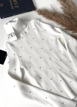 Гольф свитер zara зара с камнями стразами водолазка