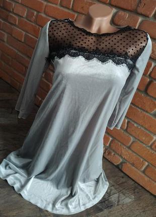Платье велюр свободного кроя трапеция с кружевом /сукня
