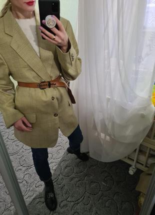 Винтажный удлинённый шерстяной пиджак, жакет оверсайз с мужского плеча