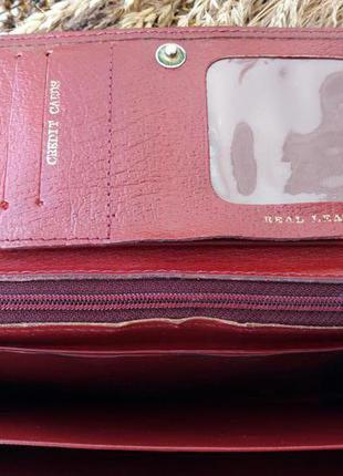 Кожаный кошелек красного цвета4
