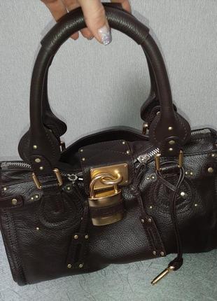 Сумка chloe paddington кожаная сумка 👜 шоколадного цвета