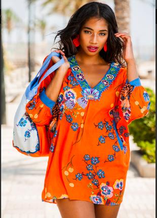 Брендовая сочная оранжевая  пляжная туника из хлопка оверсайз,с вышивкой  indiano