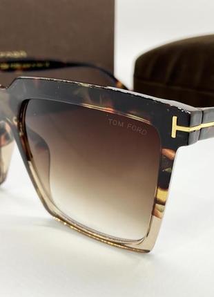 Tom ford очки женские солнцезащитные черепаховые квадраты с градиентом