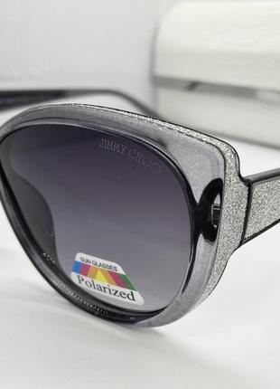 Jimmy choo очки женские солнцезащитные серые  поляризованые  бабочки с серебристым глитером