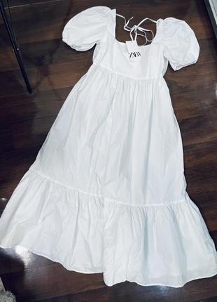 Белое котоновое платье миди zara