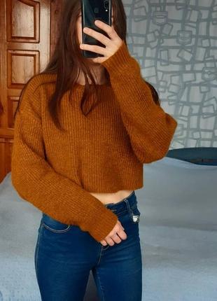 Sale укороченный вязаный свитшот свитер из акрила в рубчик new look кофта світер