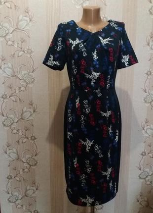 Стрейчевое платье карандаш в цветочный принт