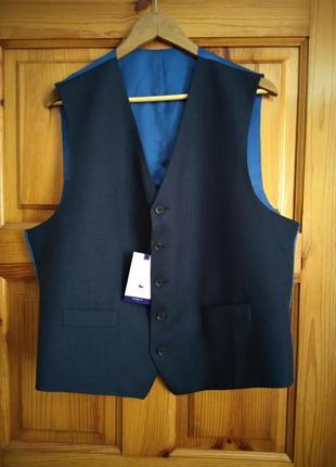 Мужской костюмный жилет шерсть цвет темно-синий chester by chester barrie размер 46